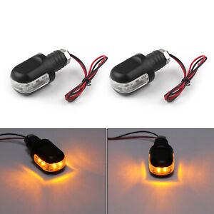 Motorrad-LED-Lenkerenden-Blinker-Schwarz-fuer-Chopper-Bobber-Custom-Cafe-Racer-TZ