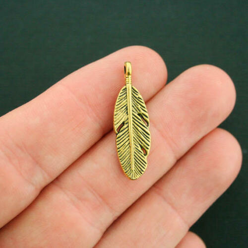 8 Feather Charms Antique Gold Tone 2 Sided GC878