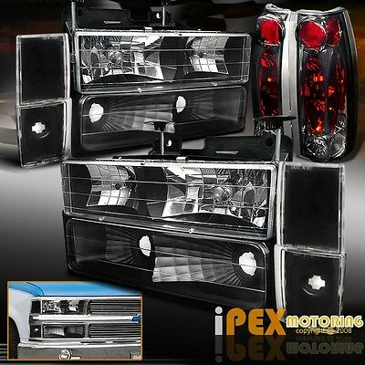 Special Edition 88-93 GMC/Chevy Truck Black Head Light W/ Smoke Tail Lamp+Corner