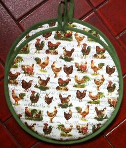 Aga-Lid-Cover-Chefs-Pad-Protector-Handmade-Country-Chickens-PAIR