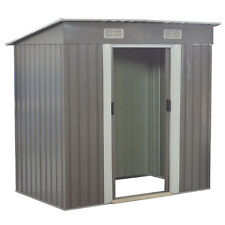 4x6.2FT Garden Storage Shed Tool House Sliding Door Galvanized Steel Gray NEW