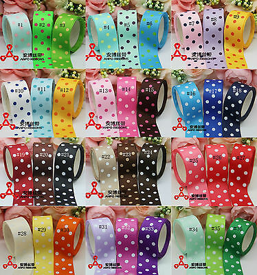 "7/8"" 22 mm Cut Polka Dot Printed Grosgrain Ribbon Craft 4 BOW 36 Colors U Pick"