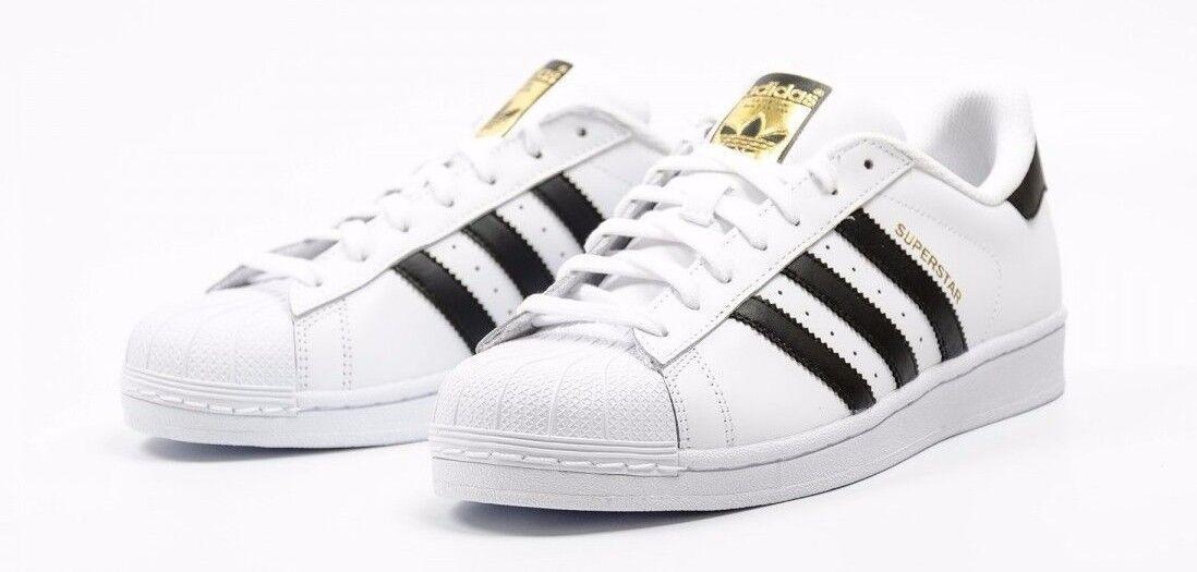 Adidas superstar c77124 bianco / nero / originali pelle dorata Uomo scarpe