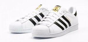 adidas superstar c77124 bianco / nero / originali pelle dorata mens
