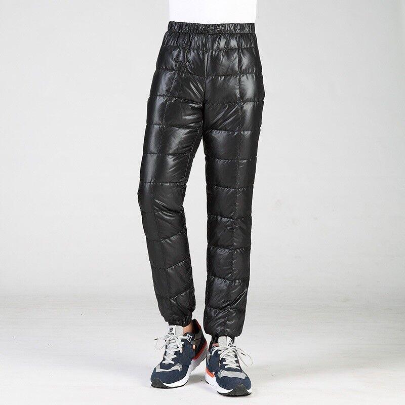 Mens 90%  Down Long Ultralight Outdoor Pants Winter Warm Trousers Waterproof