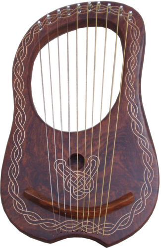 TC Lyre Harp Sheesham Wood 10 Metal Strings/Lyra Harp 10 Strings Free Case +Key