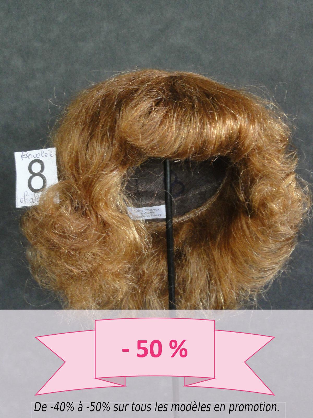50/% PROMO 100/% cheveux  Bouclée Chatain 31.5cm PERRUQUE de POUPEE T8