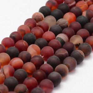 Natuerliche-Indische-Achat-Perlen-10mm-Frosted-Rot-Rund-Edelsteine-G74