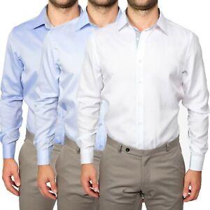Camicia-Uomo-Slim-Fit-Cotone-Elegante-Manica-Lunga-Sartoriale-S-M-L-XL-XXL