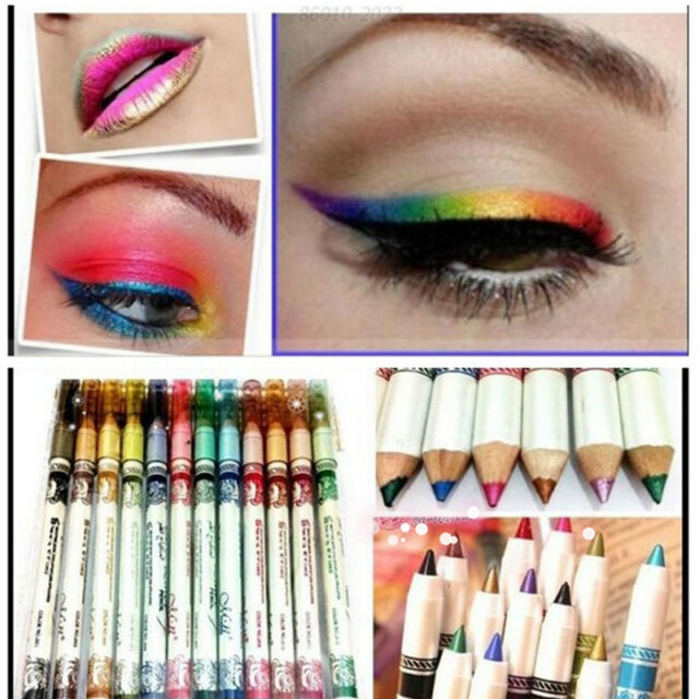 12 Colors Glitter Lip liner Eye Shadow Eyeliner Pencil Pen Makeup Cosmetic