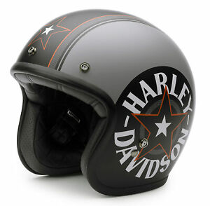 Harley-Davidson-Grey-Star-Retro-3-4-Helmet-EC-98320-15E
