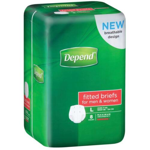DEPEND FITTED BRIEFS LARGE L 8 PACK MEN WOMEN UNI BREATHABLE DESIGN