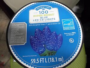 Details About 100 Holiday Time Led Super Bright Blue Led C9 Christmas Lights Green Wire