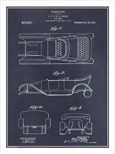 1914 Dodge Brothers Car Body Design Patent Print Art Drawing Poster 18X24