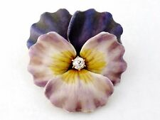 Antique Art Nouveau 14K Enamel Enameled Diamond Pansy Brooch Pin Pendant