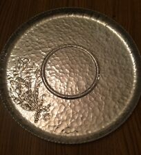 Vintage Hammered Aluminum Serving Tray By Rodney Kent 460 Plate Tulip Floral