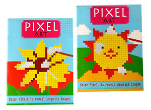 Pixel Art Hidden Image Color By Number Books Kids Adults Coloring