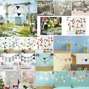 3-2-M-12-drapeaux-Coton-Bunting-Banniere-Pennant-Garland-Wedding-Birthday-Party-Decor