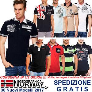 Polo-Uomo-a-Maniche-Corte-con-Ricami-Stampe-T-Shirt-Maglia-Geographical-Norway