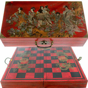 Chinese dynasty chess set large 18 39 x19 39 foldable chess board red display case ebay - Chess board display case ...