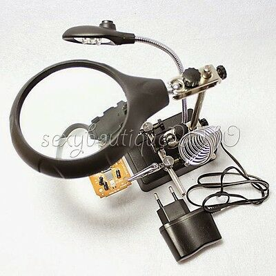 AC/DC 5 LED Light Auxiliary Clip Magnifier Soldering Iron Stand Station DIY Tool