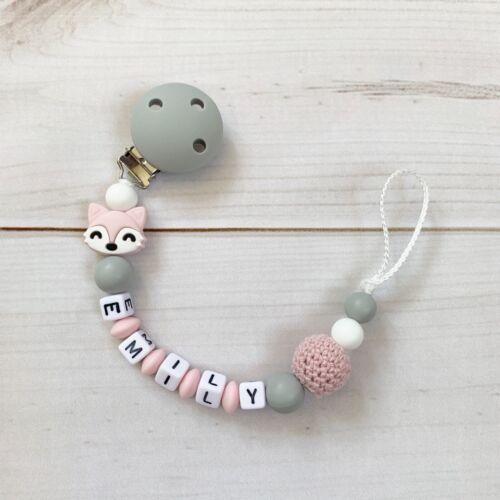 Schnullerkette Schnullerband Nuckelkette mit Namen rosa grau Fuchs Silikon