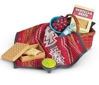 American Girl Saige's PICNIC SET retired basket blanket box food water bottle