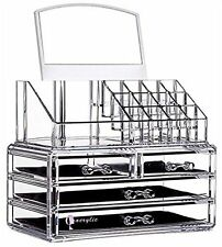 Makeup Acrylic Organizer 4 Drawers Storage Cosmetic Clear Box Brush Holder Tray