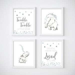 4 Print Set Elephant Nursery Room