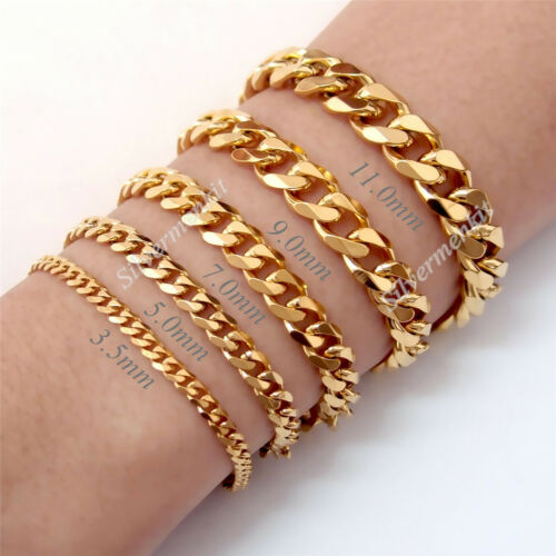 3//5//7//9//11//mm Men/'s Boy/'s Chain Curb Gold Tone Stainless Steel Bracelet Jewelry
