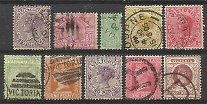 VICTORIA-Collection-10-Different-COLONIES-STATES-Stamps-Used-condition