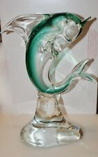 "New 9/"" Hand Blown Art Glass Fish Figurine Sculpture Statue Green Clear"