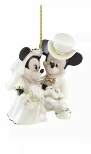 Mickey And Minnie Wedding.Disney Mickey Minnie Wedding Christmas Ornament Lenox Porcelain Bride Groom 2018 For Sale Online Ebay