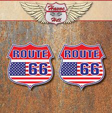 ROUTE 66 American USA Stickers car motorbike van Hot Rat Rod Guitar Laptop decal