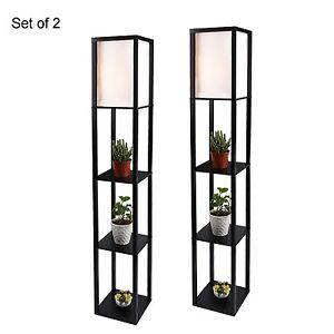 2x Modern Wood Shelf Floor Lamp Linen Shade Light Storage Living Room Black Home