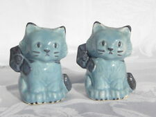 Pair of Vintage Blue Ceramic Cats or Kittens Salt and Pepper Shakers
