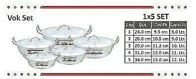 set size # 1,2,3,4,5 Cooking Pots Aluminium Wok Free Post in UK Karahi