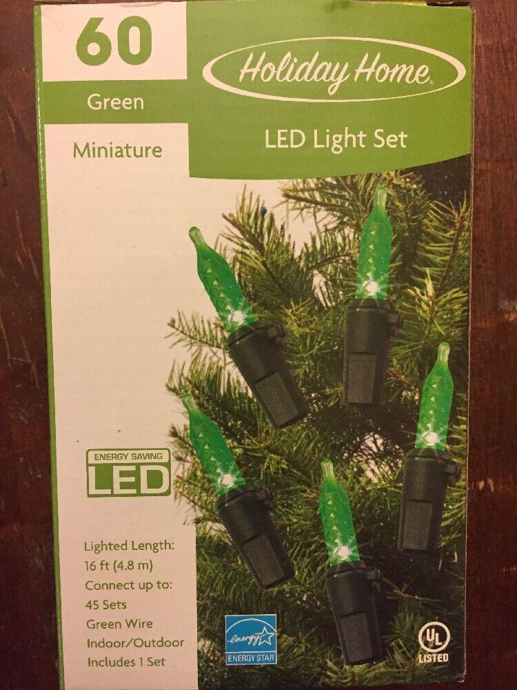 Lot Lot Lot of 14 Sets of Brand New, Grün LED Mini Christmas Lights - 60 Count 760639