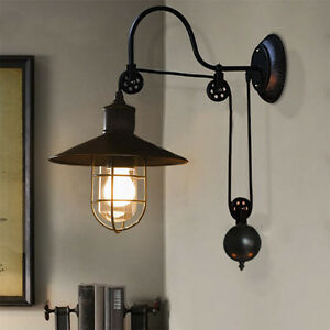Image Is Loading Warehouse Gooseneck Wall Sconce Light Fixture Pulley