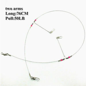 5-10Pcs-2-Arm-Stainless-Steel-Fishing-Wire-Trace-Leader-with-Rigs-Swivels-Snap