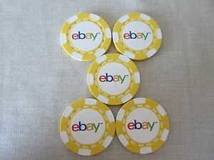 Set of 5  Poker Chips Yellow Collectible New Logo Selling Seller Gamble