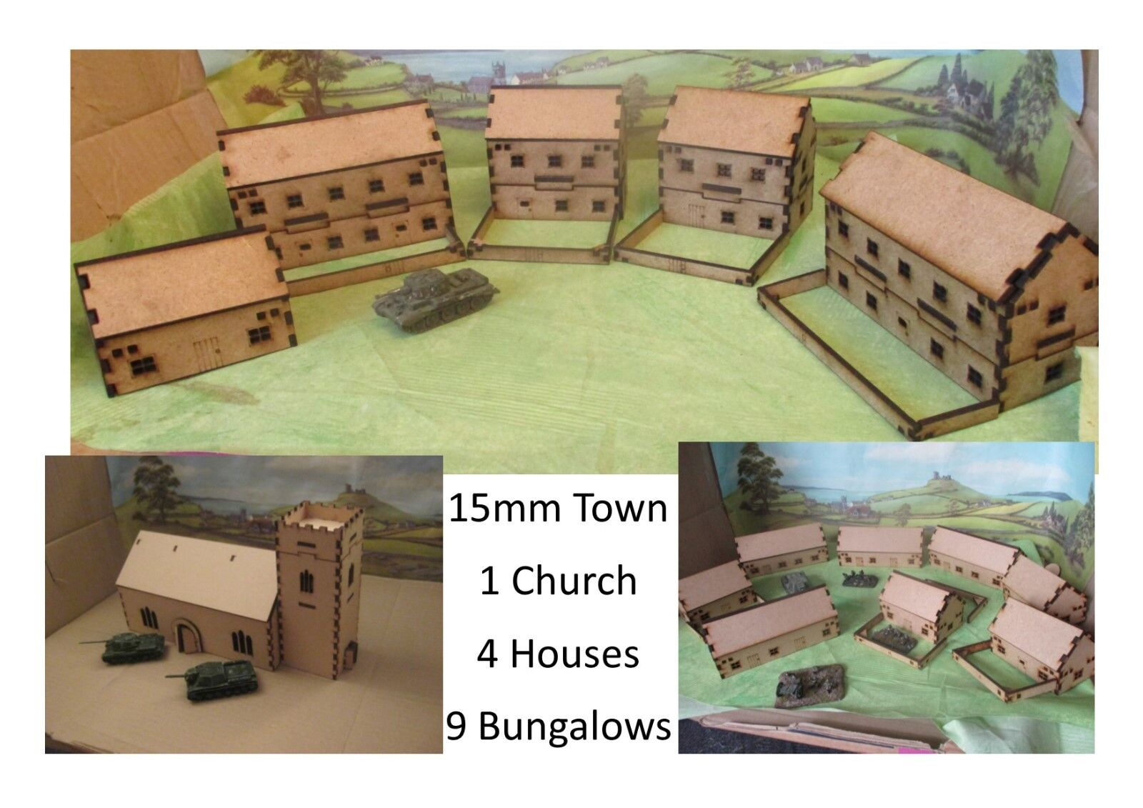15mm Town 5 Houses 9 Bungalow 1 Church Scenery Buildings MDF Laser cut FOW