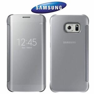 lowest price 663cf 92496 Details about GENUINE SAMSUNG GALAXY S6 EDGE SILVER CLEAR VIEW WINDOW FLIP  PREMIUM CASE COVER