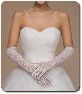 XL-Brauthandschuhe-Spitze-Braut-Handschuhe-Strass-Hochzeit-Weiss-Blumenmotiv