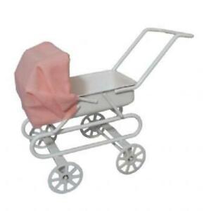 Dolls-House-White-Baby-Pram-Pink-Hood-1-12-Girls-Miniature-Nursery-Furniture