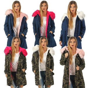 Mantel Camouflage Kunstfell Damen Xxl Winter Od Kapuze Jeans Jacke Parka IwxSA