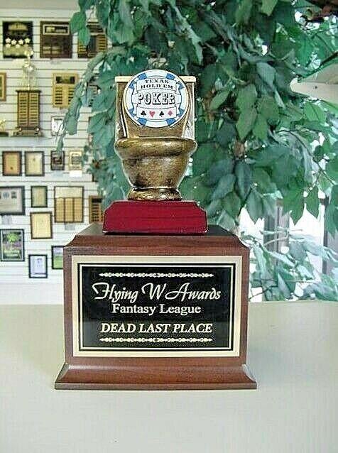 Hold em Poker último lugar Euchre perdedor Toilet Bowl Trophy perpetuo Award 16 años