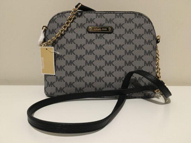 d998515f0e52 NWT MICHAEL KORS WOMEN'S GRAY MK SIGNATURE CINDY DOME CROSS-BODY SHOULDER  BAG