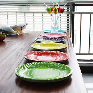 Image is loading 10PCS-7-Polka-Dot-Paper-BBQ-Plates-Birthday- & 10PCS 7\u0027\u0027 Polka Dot Paper BBQ Plates Birthday Wedding Party ...