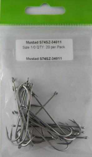 20 Hooks Mustad Signature Fly Streamer Hooks S74SZ-34011 Z Steel Size 1//0 QTY: